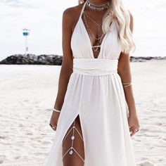 Hele Leg Chain - - Hele – Coins Leg Chain – Riviera Coco Source by Cute Dresses, Beautiful Dresses, Prom Dresses, Summer Dresses, Formal Dresses, White Beach Dresses, White Summer Beach Dress, Summer Beach Wedding Dresses, White Sundress Wedding