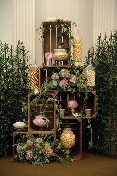 Who needs a table? A unique and beautiful way to display your sweet treats on the day. Image by Elemental Weddings.