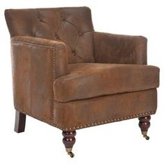 "Diamond-tufted club chair with brass nailhead trim and a wood frame.    Product: Chair  Construction Material: Wood, foam and polyester  Color: Brown   Features: High arms and a deep seat  Button-tuftedNailhead trim   Dimensions: 32.7"" H x 34.4"" W x 28"" D"