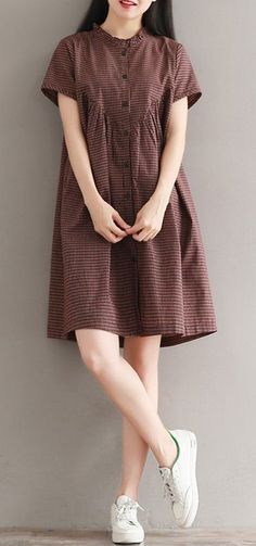 Women loose fit plus over size checkered dress skirt fashion chic casual trendy .- Women loose fit plus over size checkered dress skirt fashion chic casual trendy … Women loose fit plus over size checkered dress skirt fashion chic casual trendy - Casual Summer Dresses, Casual Skirts, Trendy Dresses, Simple Dresses, Nice Dresses, Casual Outfits, Dress Summer, Simple Dress Casual, Summer Clothes