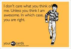 Funny Friendship Ecard: I don't care what you think of me. Unless you think I am awesome. In which case, you are right.