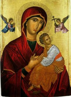 High quality hand-painted Orthodox icon of Virgin of Perpetual Succour (Cretan). BlessedMart offers Religious icons in old Byzantine, Greek, Russian and Catholic style.