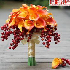 ... High-Grade Real Touch Calla Lily + Happiness Fruit With Diamond Pearl