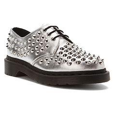ad8f9af8a4946 Dr Martens Harlen All Stud 3-Eye Shoe Silver Mora Chaussures Argentées,  Richelieu,