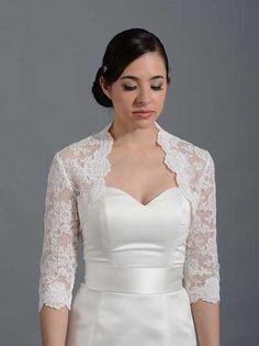 4a6eee8de5 3 4 sleeve bridal alencon lace bolero jacket - Lace 074