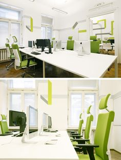 Open plan office with refreshing lime color chairs! #openplanoffice Cubicles.com