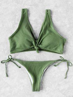 Shop Knot Front Side Tie Bikini Set online. SheIn offers Knot Front Side Tie Bikini Set & more to fit your fashionable needs.
