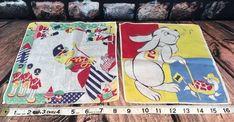 2 VTG Childrens Handkerchief Tom Lamb Tortoise/Hare Marching Teddy Bear Soldiers | eBay