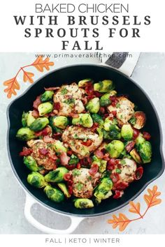 An Easy Baked Chicken with Brussels Sprouts recipe for fall that is loaded with flavor from the garlic, lemon, Dijon marinade and the crispy bacon. Quick dinner to please your whole family!