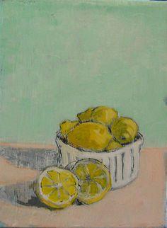 Split Lemons  Original Acrylic Oil Encaustic by TheQuirkyArtisan, $50.00