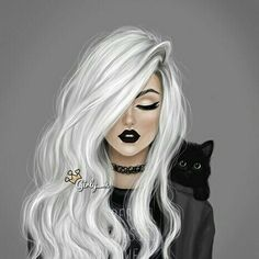 cool black belt girls drawings | and, art, black, cat, fashion, funky, hair, love, sweet, white, wow ...