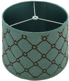 0-003502>11x13x9 Petite Trellis Teal and Brown Patterned Modified Barrel Hardback Lamp Shade