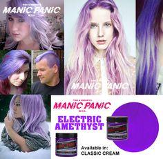 Color Manic Panic Electric Amethyst. Tinte disponible en la versión Classic. Los tintes Manic Panic no contienen amoniaco y te dejan el cabello suave como si de una macarilla se tratara. Puedes conseguir este look por sólo 12,90 euros. www.manicpanic.com.es