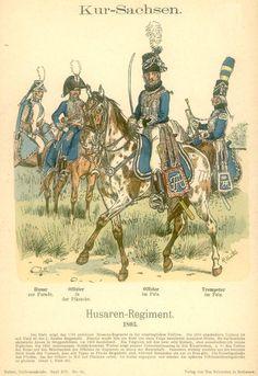Knötel-Tafel 16/18   Kur-Sachsen. Husaren-Regiment. 1803.