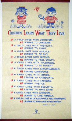 Children Learn What They Live by Dorothy Law Nolte. I had this exact little wall hanging in my children's room when they were young.