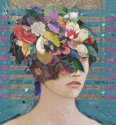 "Saatchi Art Artist Minas Halaj; Collage, """" Floral Mind #20 """" #art selected by www.onlyart.eu"