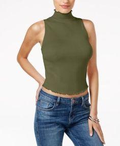 Guess Adair Mock-Neck Ruffled Top - Green XL