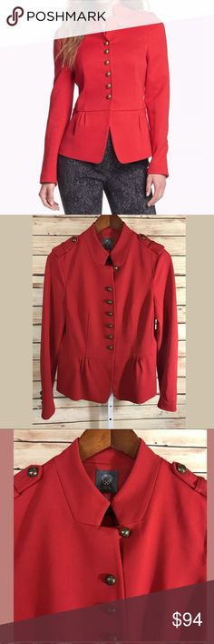 "Vince Camuto Radiant Red Peplum Military Jacket New with tags! Vince Camuto Radiant Red Peplum Military Jacket Blazer. Bronze Buttons. Women's 8. Retail $199  69% Rayon 26% Nylon 5% Spandex  Total length: 24""  Underarm to underarm: 19""  Measurements are approximate and unstretched. Vince Camuto Jackets & Coats Utility Jackets"