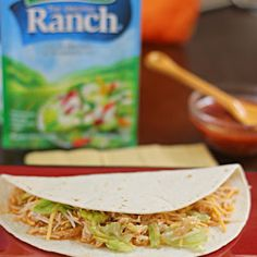 Crockpot ranch chicken tacos. These were great and so easy. Made with homemade taco seasoning. Add more chicken next time so it won't be so runny.