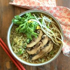 Green Ramen with Portobello Mushrooms. Green noodle soup served with thickly sliced marinated/broiled portobello mushrooms!