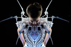 """The Spider Dress, by Dutch """"robotic couture"""" designer Anouk Wipprecht, uses motion and respiration sensors to mimic the vicious territorial instincts of a spider."""