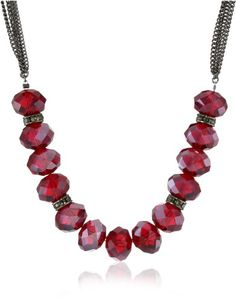 "Last min 2013 discounts on garnet jewelry Kenneth Cole New York ""Modern Garnet"" Red Faceted Bead Necklace"