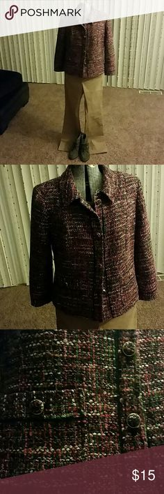 Talbots Jacket - Size 4 Multi-colored jacket with fabric buttons and solid piping own the center and pockets A great addition to any wardrobe. Talbots Jackets & Coats Blazers