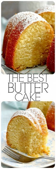 Best-Ever Butter Cake is so supremely moist, easy to make, and tastes so buttery and delicious!This Best-Ever Butter Cake is so supremely moist, easy to make, and tastes so buttery and delicious! Köstliche Desserts, Delicious Desserts, Dessert Recipes, Food Cakes, Cupcake Cakes, Cupcakes, Baking Cakes, Bunt Cakes, Pound Cake Recipes