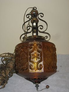 Swag Lamp Light Amber Shade Gothic Vintage Retro Mid Century