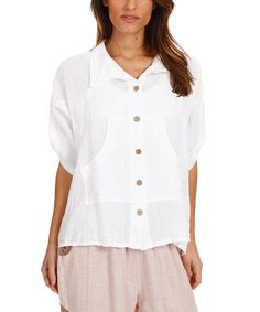 Another great find on #zulily! White Linen Button-Up Top - Plus Too #zulilyfinds