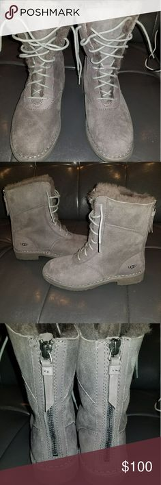 Ugg boots nwt Ugg boots model w quincy lace-up boots color gray new never worm does not come with the original box water resistant price 100 UGG Shoes Lace Up Boots
