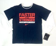 Nike Faster Stronger Than Last Year Long Sleeve Shirt Blue White 6   eBay