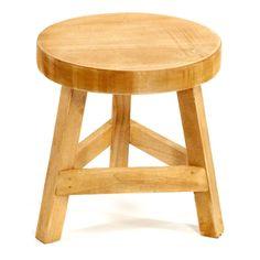 Wooden-Stool-Three-Legged-3-Legs-Wood-Round-Natural-White-Painted-Pine-23cm-High