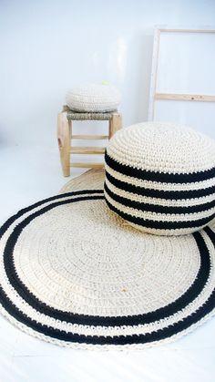 Round Rug floor crochet thick wool Natural undyed por lacasadecoto