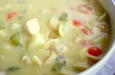 Creamy Chicken Soup! My family loves this! I won't ever make ordinary chicken noodle soup again.