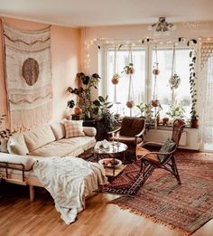 Inspiration for a modern bohemian living room wit… Modern Boho Living Room Ideas. Inspiration for a modern bohemian living room with moroccan style boho decor in lots of neutral hues. Boho Living Room Decor, My Living Room, Living Room Designs, Cozy Living Rooms, Cool Living Room Ideas, Hippie Living Room, Bohemian Room Decor, Living Room Plants, Best Living Room Design