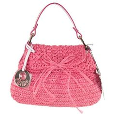 Preowned Fendi Italian Pink Woven Raffia Straw Chef Bag Flap Purse... (7.350.465 IDR) ❤ liked on Polyvore featuring bags, handbags, pink, straw handbags, straw purses, pink purse, man bag and bow purse