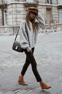 perfect fall outfit - baker bot hat with sweater, jeans, and boots