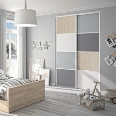This closet door is ideal for your child's storage. Made in France and easy to install. Wardrobe Door Designs, Wardrobe Design Bedroom, Bedroom Cupboard Designs, Kids Bedroom Designs, Kids Bedroom Furniture, Room Ideas Bedroom, Dressing Design, Pink Bedroom Design, Bedroom For Girls Kids