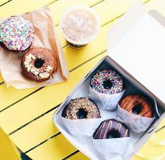 aesthetic, bright, coffee, colors, delicious, desserts, donuts, happy, pastry, photography, sweets, First Set on Favim.com