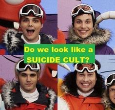 """""""MCR are an emo suicide cult"""" Lol shut up, you're just jealous because you're not a special snowflake and didn't sing on yo gabba gabba"""