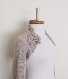 Milky brown Wedding shrug Bridal shrug long by knittingshop