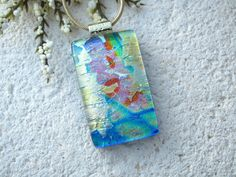 Dichroic Jewelry. Rainbow Necklace, Rainbow Pink Gold  Necklace, Fused Glass Jewelry, Dichroic Pendant, Glass Gold Necklace 070715p102 by ccvalenzo on Etsy