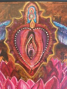 Sacred Yoni Heart mixed media painting by Clarissa Callesen