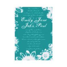 Bright Aqua Flower Wedding Invitation