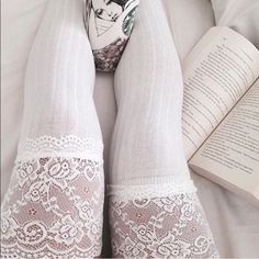 White Lace Knitting High Socks Brand new Accessories