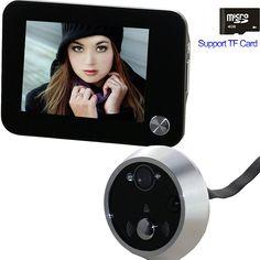Free envío mirilla puerta visor de ojo de la cámara de intercomunicación de vídeo soporte de tarjeta tf visión seguridad para el hogar