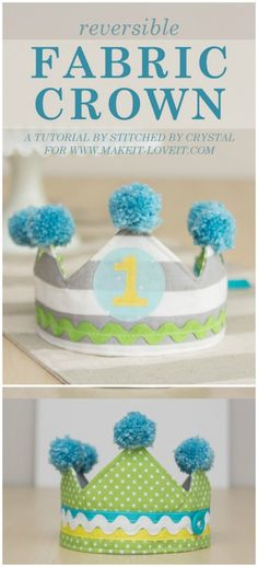 Free pattern & tutorial for a reversible fabric crown for kids - Fabric Crafts - DIY Sewing Patterns For Kids, Sewing Projects For Kids, Fun Crafts For Kids, Sewing For Kids, Diy For Kids, Crafts To Make, Sewing Ideas, Crown Pattern, Free Pattern