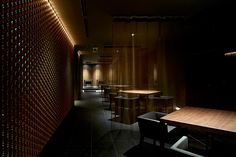 makoto yamaguchi uses textures and traditional craft inside japanese restaurant interior