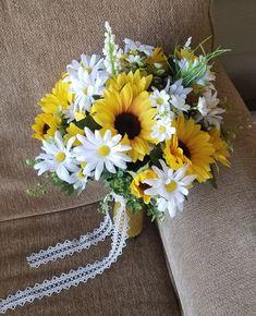 Silk Flower,Wedding,Bridal Bouquet,Yellow,Greenery,Fall,Sunflower,Light,Faux,Burlap,Boho,Rustic,White Daisy,Autumn,Corsage,BeltSashes,Wild